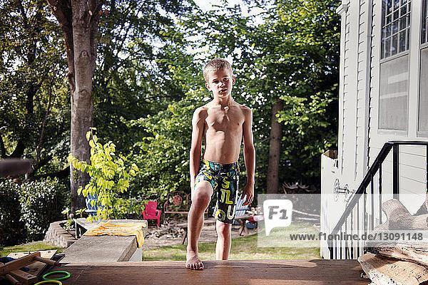 View of shirtless boy