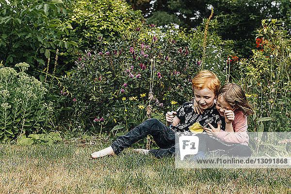Geschwister spielen auf dem Feld gegen blühende Pflanzen im Park