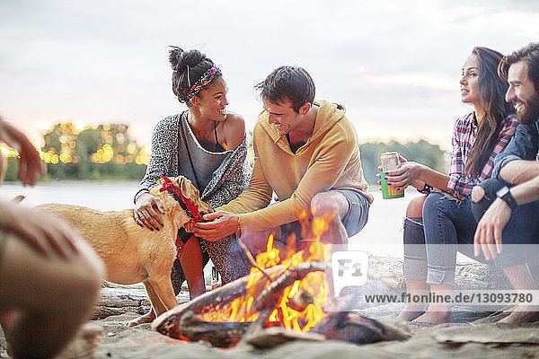 Happy friends with dog by campfire against river