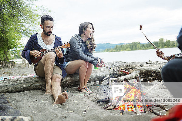Man playing ukulele while sitting with friends roasting sausages at campfire