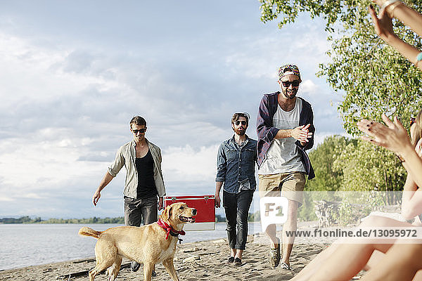 Male friends carrying cooler while walking on sand at riverbank against sky