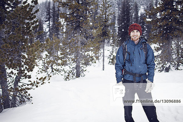 Portrait of hiker in mountains