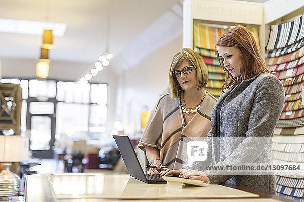 Weibliche Besitzerinnen benutzen Laptop-Computer bei der Arbeit am Tisch im Möbelgeschäft