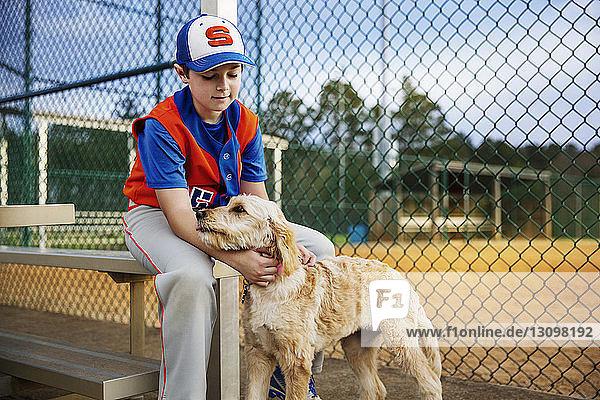 Baseballspieler streichelt Hund auf dem Feld