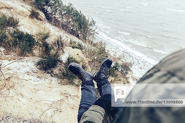 High angle view of man at beach during winter