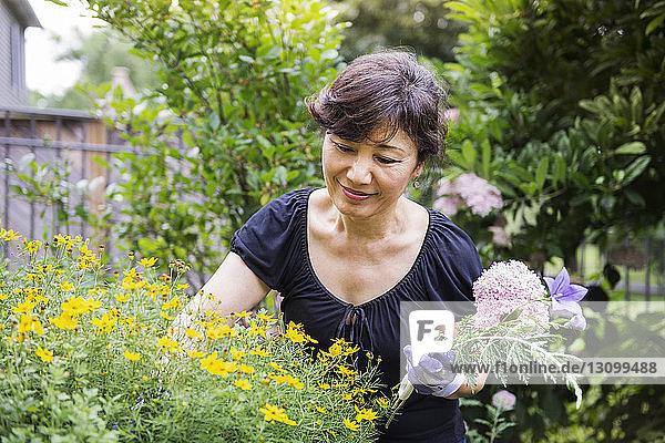 Ältere Frau hält Blumen während der Gartenarbeit im Hinterhof