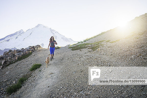 Female hiker with dog walking on mountain against clear sky during sunny day