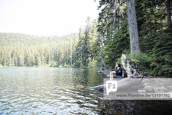Frau entspannt sich auf einem Baumstamm am Seeufer