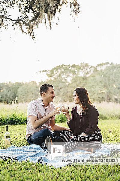Ein lächelndes Paar stößt auf Getränke an  während es im Park auf einer Decke gegen den Himmel sitzt