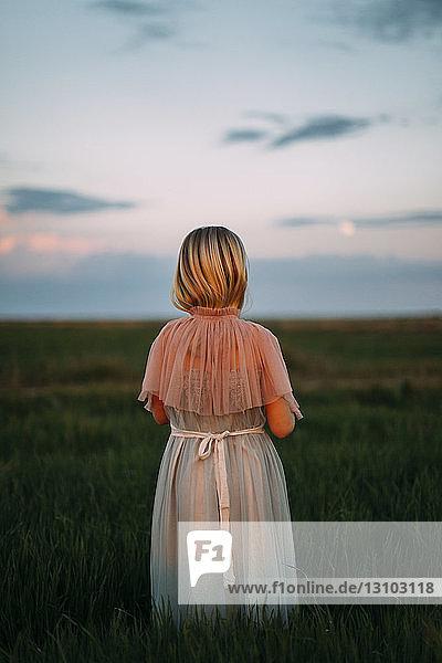Rückansicht eines Mädchens  das bei Sonnenuntergang auf einem Grasfeld steht