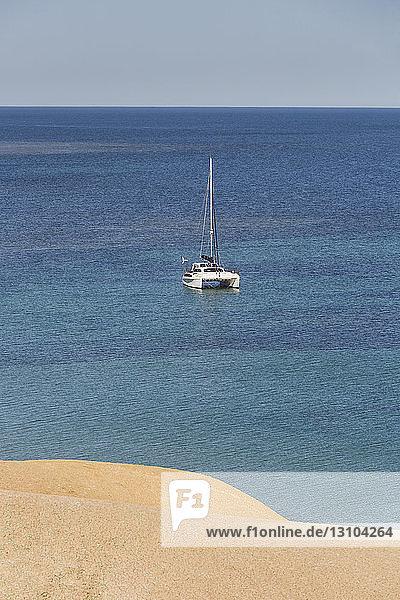 Catamaran on sunny  tranquil ocean  Port Willunga  South Australia  Australia