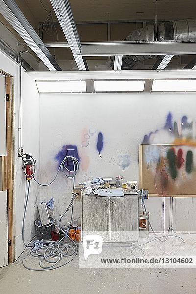 Paint on wall in art studio
