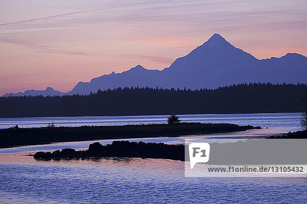 Sunset Over Mt. St. Elias And Monte Bay  Yakutat  Alaska