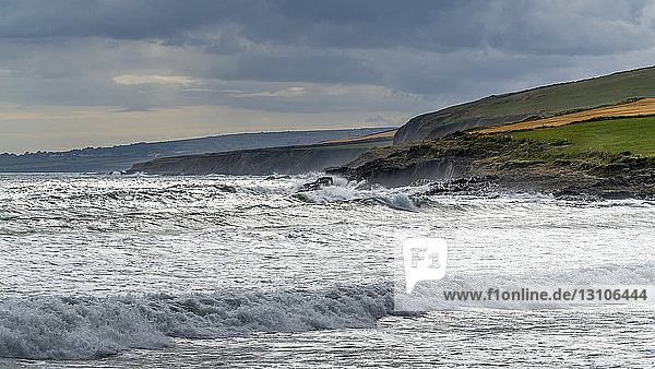 Rugged coastline along the Atlantic with rough waters  viewed from Garrylucas Beach; Kinsale  County Cork  Ireland