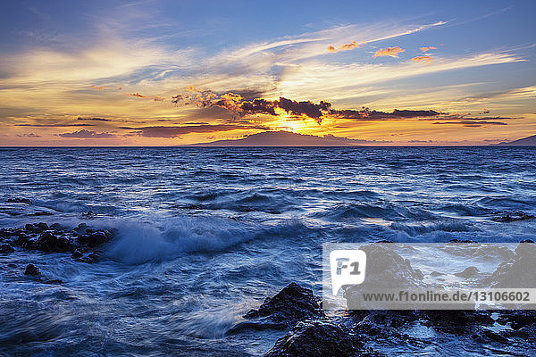 Sunset view from Wailea coast; Wailea  Maui  Hawaii  United States of America