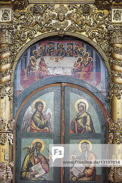 Paintings of religious figures  Golden Ring; Uglich  Yaroslavl Oblast  Russia
