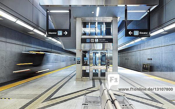 Interior train entering Highway 407 subway station on the Yonge-University line; Toronto  Ontario  Canada