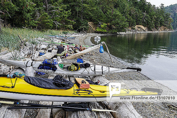 Kayaks on a small Islet at Beaumont Marine Park in Bedwell Harbour  South Pender Island; Pender Island  British Columbia  Canada.