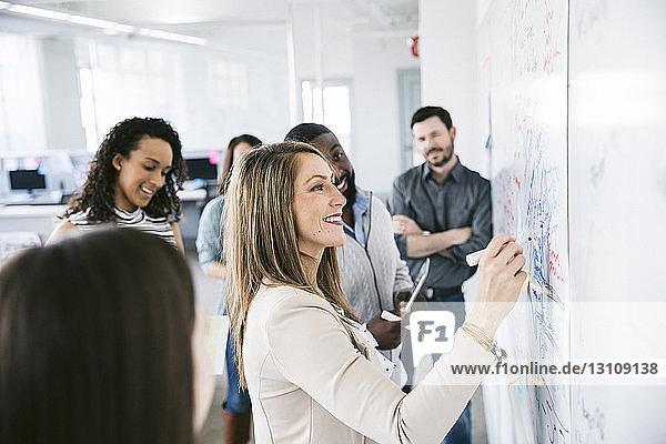Kollegen betrachten Geschäftsfrau  die in einer Besprechung Notizen an die Tafel schreibt