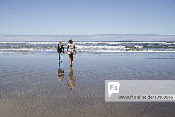 Rear view of girls walking on shore at beach against sky