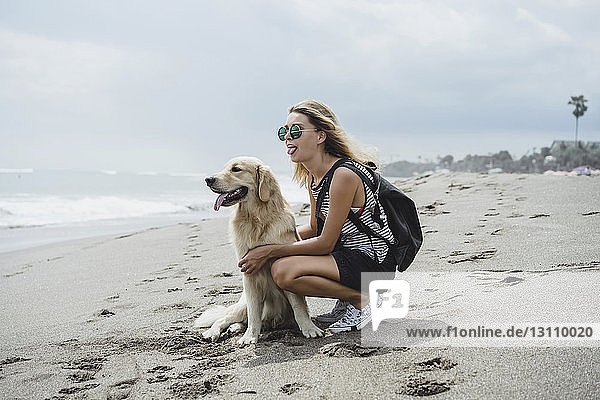Full length of woman and Labrador Retriever sticking out tongues on shore at beach