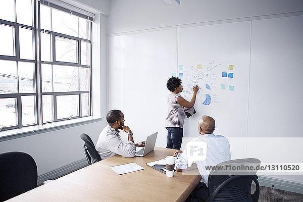 Geschäftsleute betrachten eine Kollegin  die im Besprechungsraum an einer Tafel schreibt