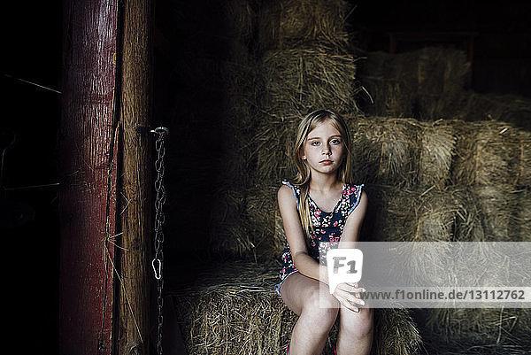 Porträt eines auf Heuballen sitzenden Mädchens in der Scheune