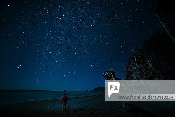 Rear view of man with dog standing at La Push beach against star field during night