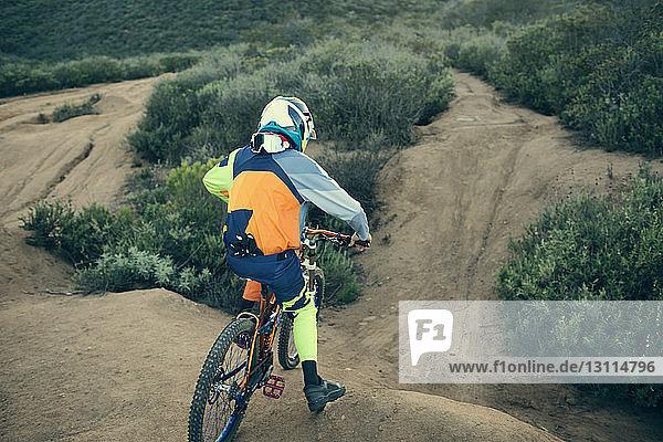 Rückansicht eines Fahrrad fahrenden Radfahrers am Berg