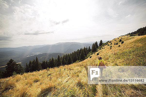 Rückansicht einer Frau  die in einem Grasfeld auf einem Berg geht