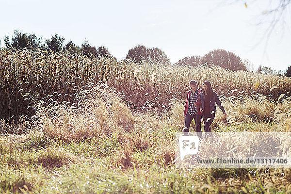 Happy sisters walking on grassy field against sky