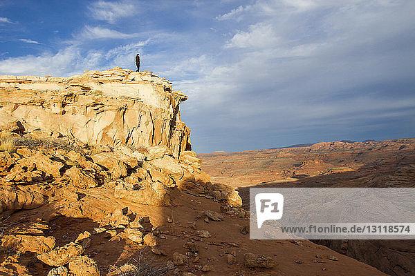 Fernsicht auf eine Wanderin  die auf dem Gipfel eines Berges steht