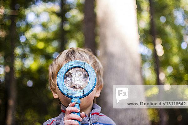 Junge schaut durch eine Lupe im Wald