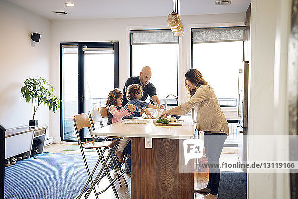 Family preparing food at kitchen counter at home