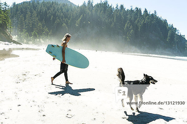Woman holding surfboard with dog walking on sand at beach