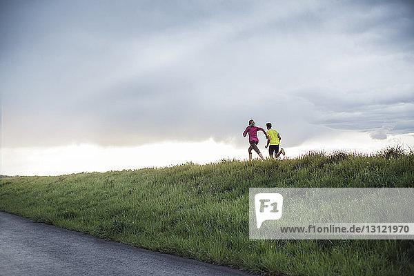 Rückansicht von entschlossenen Athleten  die auf dem Feld gegen bewölkten Himmel laufen