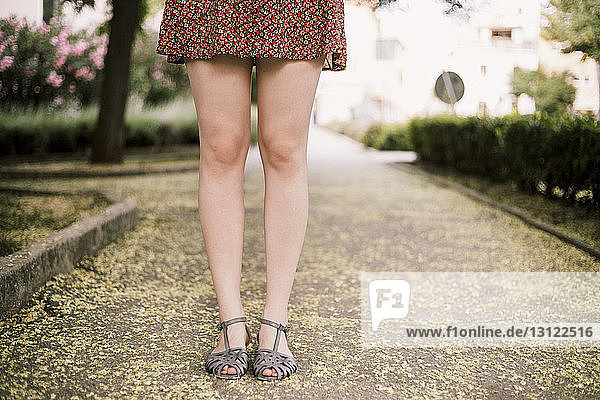 Low section of woman standing in park