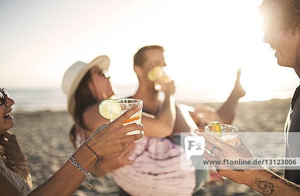 Freunde halten Getränke in der Hand  während sie am Strand genießen