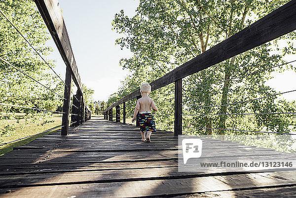 Rückansicht eines Jungen ohne Hemd  der auf einem Steg durch Bäume gegen den Himmel läuft