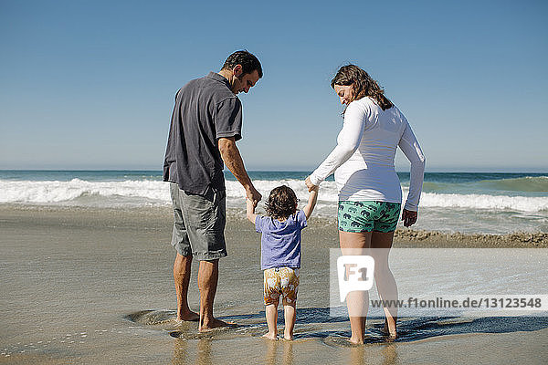 Rear view of family enjoying at beach against clear blue sky on sunny day