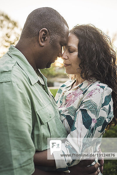 Couple with eyes closed touching foreheads while standing at park