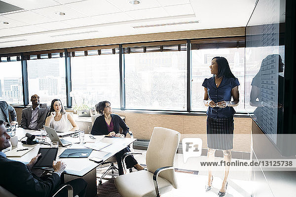 Businesswoman giving presentation in meeting at board room