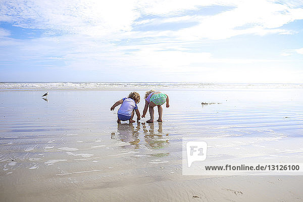 Siblings playing in wet sand at beach against sky