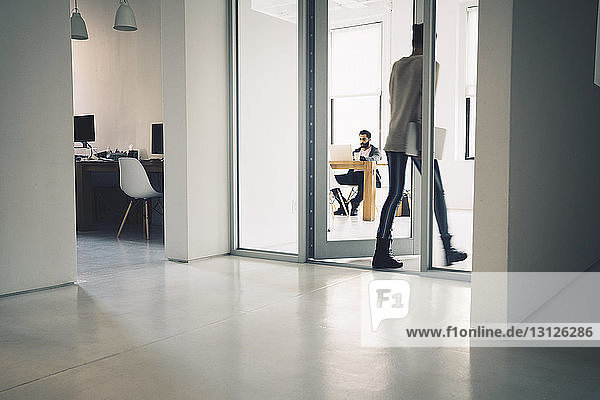 Businesswoman entering in office