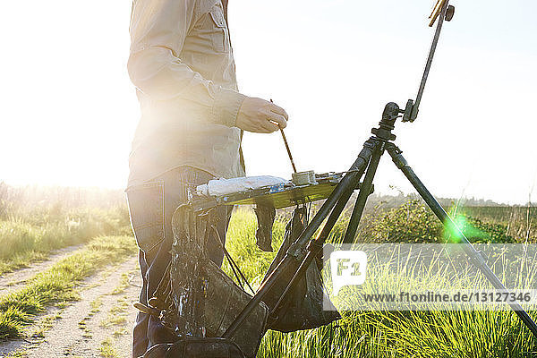 Midsection of painter standing by easel at field during sunny day