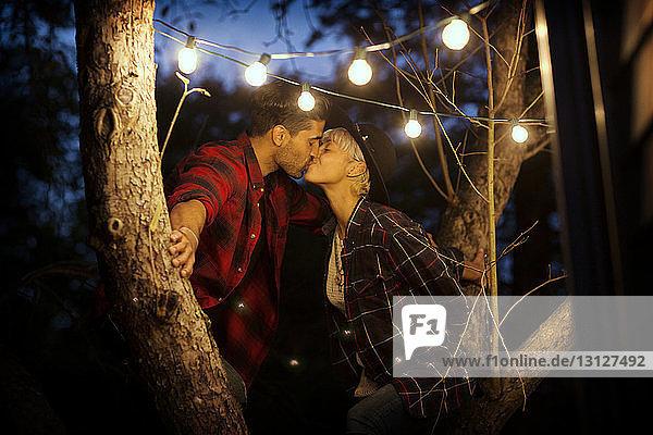 Zärtliches Paar küsst sich im Sitzen auf einem Baum
