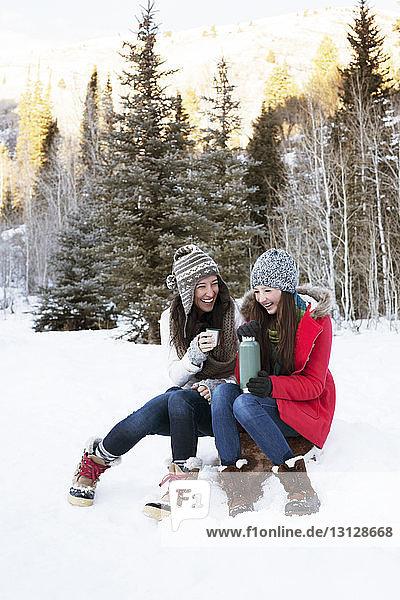 Fröhliche Familie hält Kaffee  während sie auf einem Felsen im verschneiten Feld sitzt