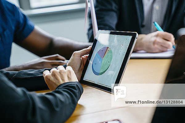 Mittelteil einer Geschäftsfrau  die einen Tablet-Computer hält  während sie mit Kollegen zusammensitzt