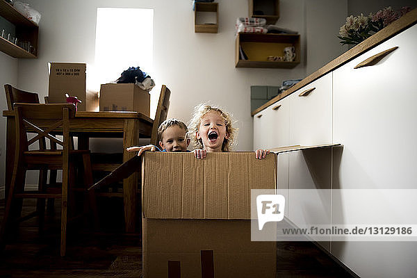 Portrait of cheerful siblings sitting in cardboard box at home