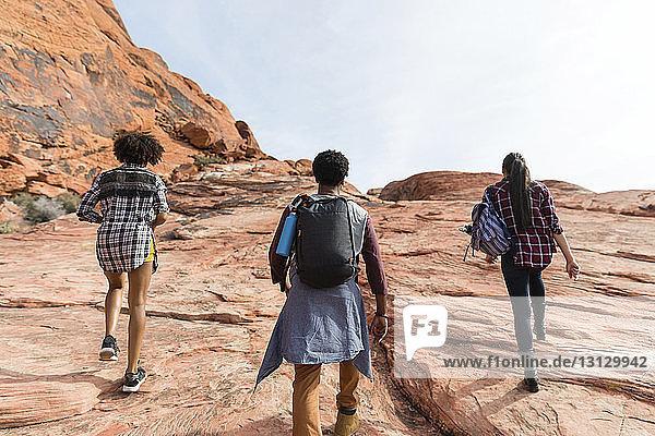 Rückansicht von Freunden  die bei Sonnenschein auf Felsformationen gegen den Himmel wandern